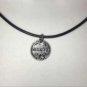 BELIEVE pendant on leather chain NWT